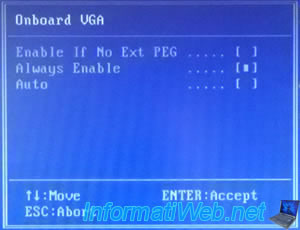 Force the use of the internal graphics card (Onboard VGA) - BIOS