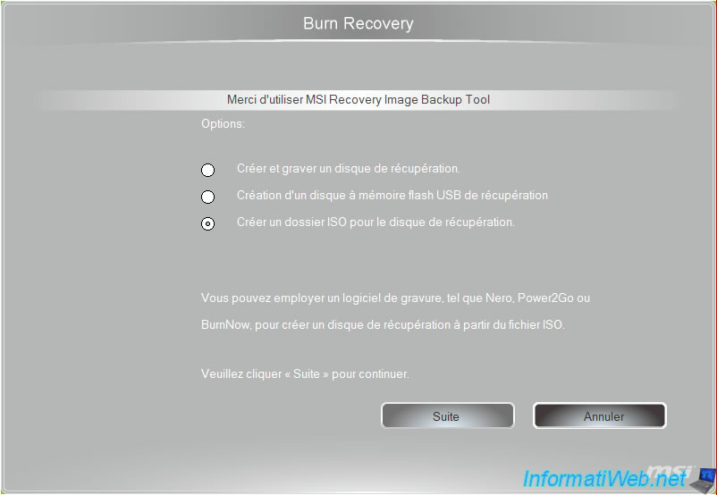 MSI - Create recovery DVD (by Burn Recovery) - Laptops - InformatiWeb