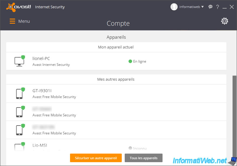 compte avast mobile