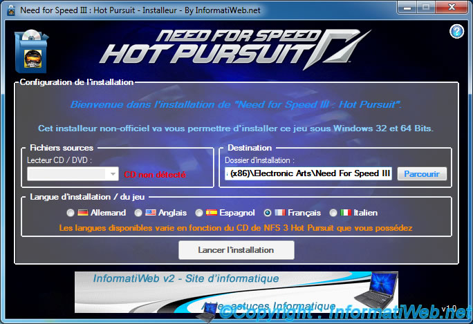 NFS III : Hot Pursuit - Installer - Configuration de l'installation