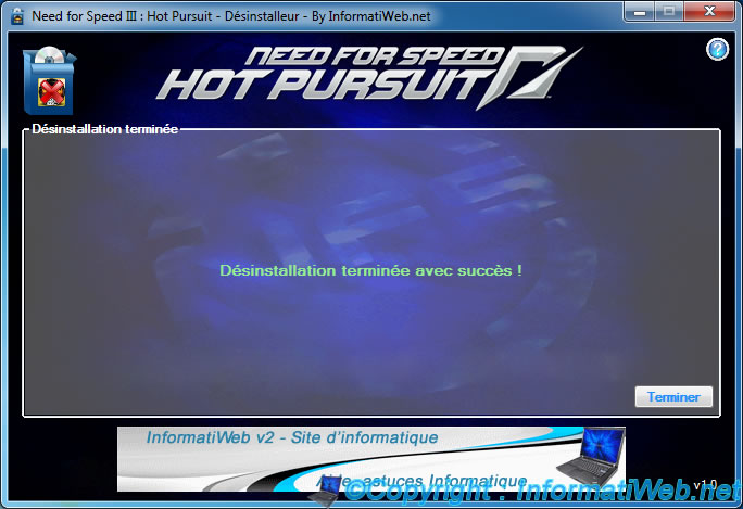 NFS III : Hot Pursuit - Installer - Désinstallation terminée
