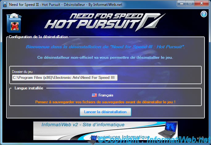 NFS III : Hot Pursuit - Installer - Désinstalleur