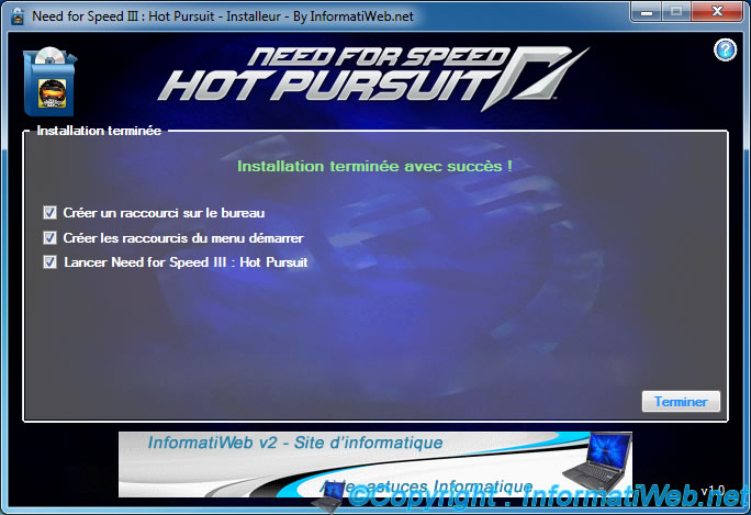 NFS III : Hot Pursuit - Installer - installation terminée